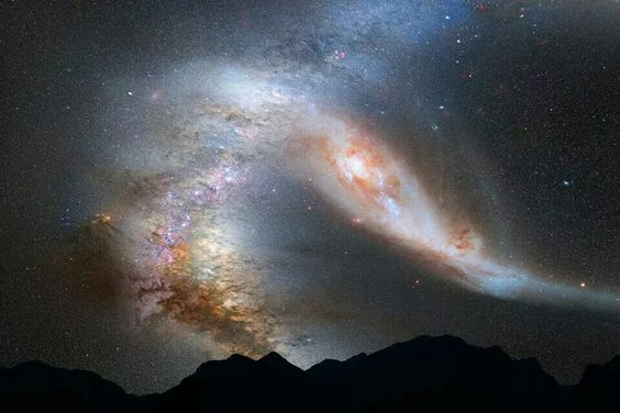 Milky Way and Andromeda Galaxy; collision course