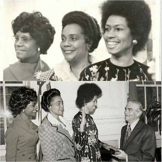 Congresswoman Shirley Chisholm and Coretta Scott King supporting now Congresswoman Eleanor Holmes Norton, as she is being sworn in for her 2nd term as Chair of NYC's Commission on Human Rights (1974).  #BecauseOfThemWeCan