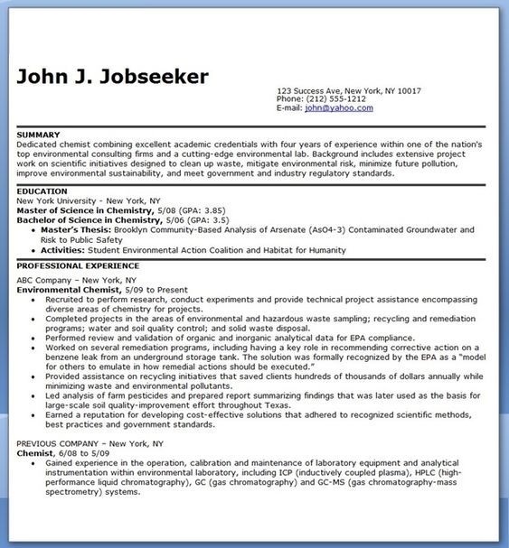 Chemist Resume Objectives Resume Sample LiveCareer Resume - chemistry resume examples