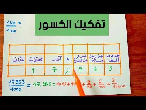 تفكيك الكسور درس الكسور العشرية الدرس2 مع امثلة و تمارين اولى متوسط 1am الجيل الثاني Youtube Math 10 Things