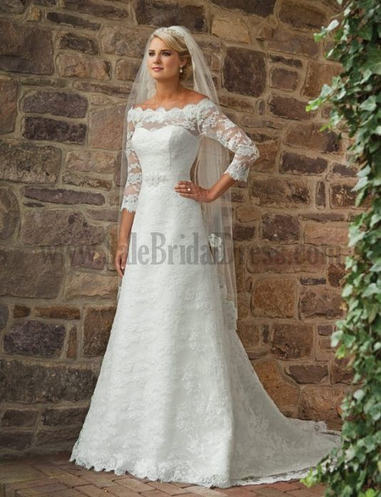 Custom Your Own Empire Waist Wedding Gown Chapel Train 34 Length Sleeves Chic And Modern Sweetheart Under 500 Wedding Dresses