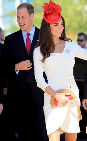 Kate Middleton  red hat and white dress