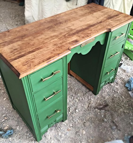 Kitchen Desk- finished with miniwax early american, chalk paint, valspar antiquing glaze and rust-oleum chalky matte seal