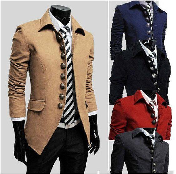 Top Designer Mens Casual Slim Military Jacket Trench Coat Suit