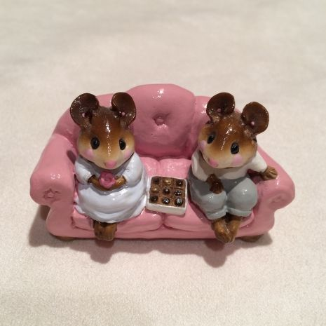 """Wee Forest Folk-""""First Date"""" #M-134 Pink Couch"""