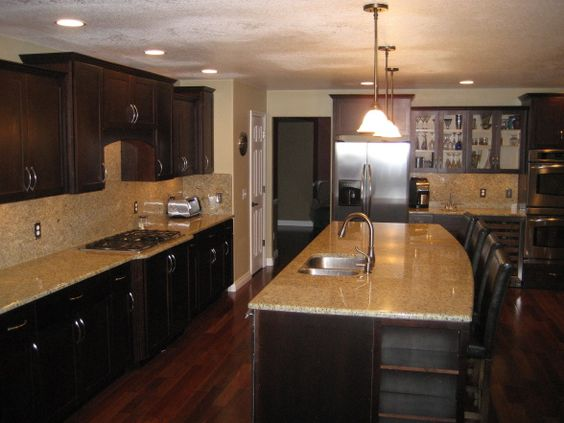 Kitchen Remodel Espresso Maple Cabinets New Venetian Gold Slab Granite And Backsplash