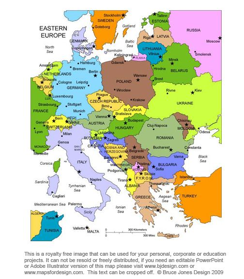 Eastern Europe Printable Blank Royalty Free jpg map – Travel Map Of Eastern Europe