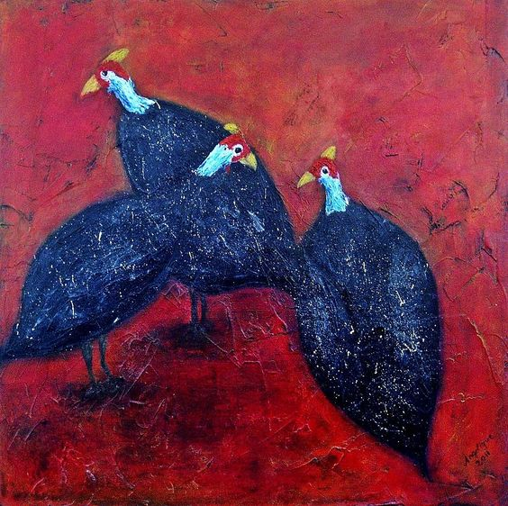 African Guinea Fowl painting