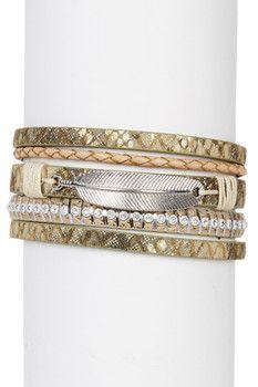 Saachi Native Feather Leather Bracelet