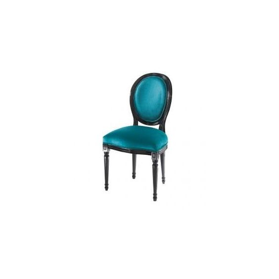 Sedia in velluto blu anatra LOUIS VELVET - Tavoli e Sedie - Maisons du Monde (1,020 CNY) found on Polyvore featuring furniture and chairs