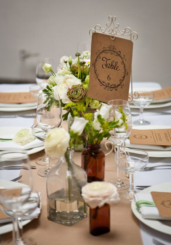 Rustic wedding decor ideas easy rustic wedding table from for Simple wedding reception table decorations
