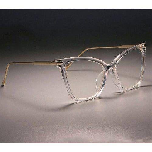 Armacao De Oculos Transparente Feminina Com Haste Dourada De Metal