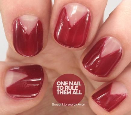 One Nail to Rule Them All made this easy look by taping off sections she wanted to leave polish-free and then painting the nails as usual. #NailArt #PromNails