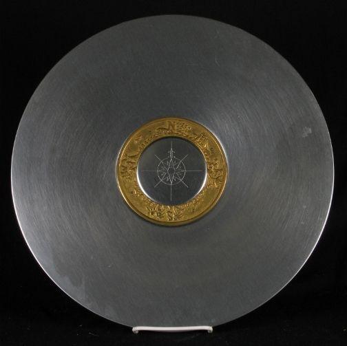 Art Deco Kensington Ware aluminum and brass ''Compass Platter'' designed by Lurelle Guild, 1935-36.: