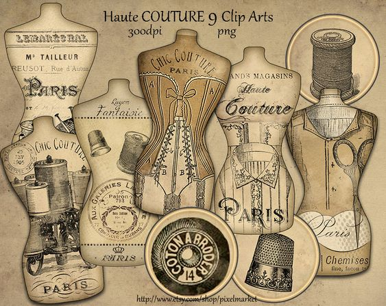 ... French Vintage Dress Form Tag Clip Arts Mannequin Hang Tag Sewing Element Printable Download Digital Scrapbooking. zoom