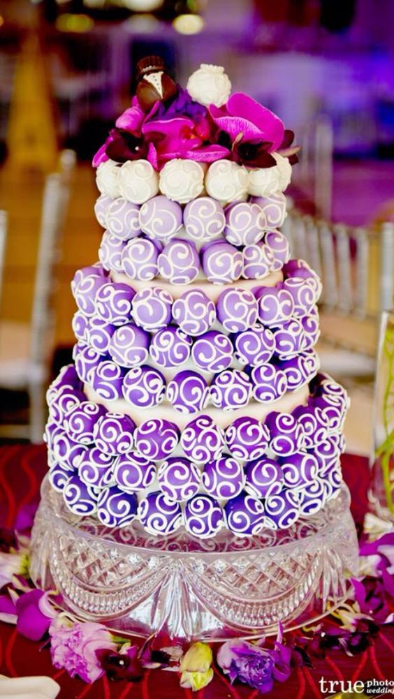 Cake pop Wedding cake or birthday cake.  Creative. B: I like the unity from dark purple to white. Ask the baker to frost them in shades of navy?