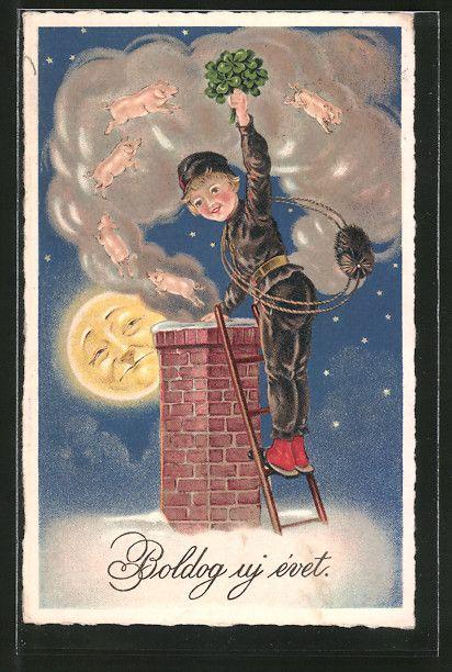 Alte Ansichtskarte: AK Schornsteinfeger bei Vollmond auf dem Dach, Schweine & Kleeblätter