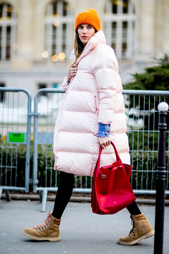 puffy down jacket in very pale pink, orange Acne beanie hat, light pink puffer down coat,