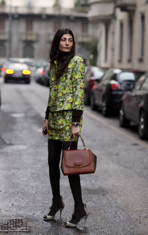 Giovanna Battaglia, Milan by The Sartorialist.Prints in street style.