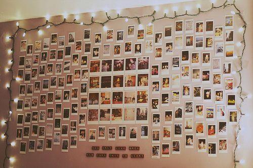 Polaroid Wall With Fairy Lights Polaroid Wall Photo Room Cool Rooms