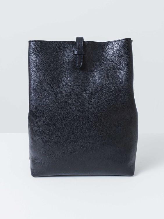 Black Leather Sling Backpack