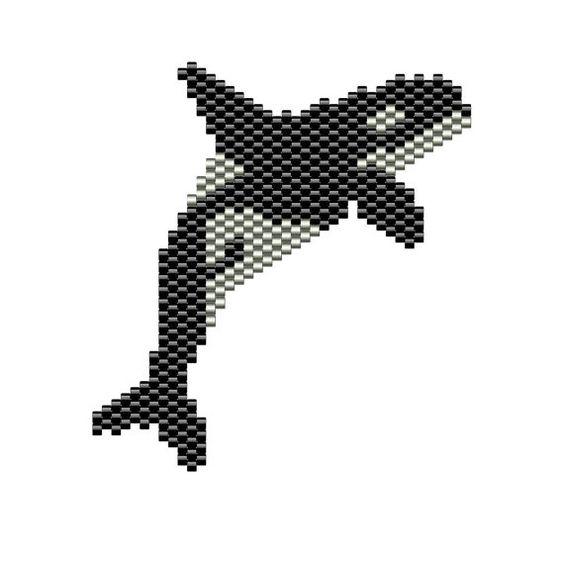 Orca Whale Pendant peyote pattern
