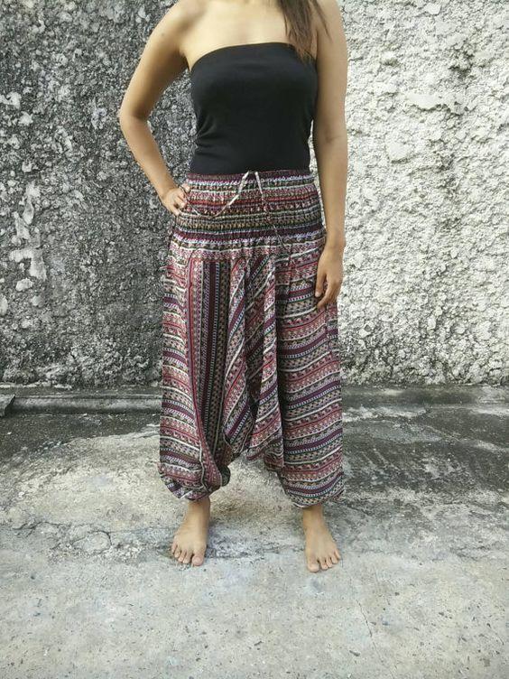 Boho Jumpsuit & Drop Crotch Harem Pants Aztec by TribalSpiritShop