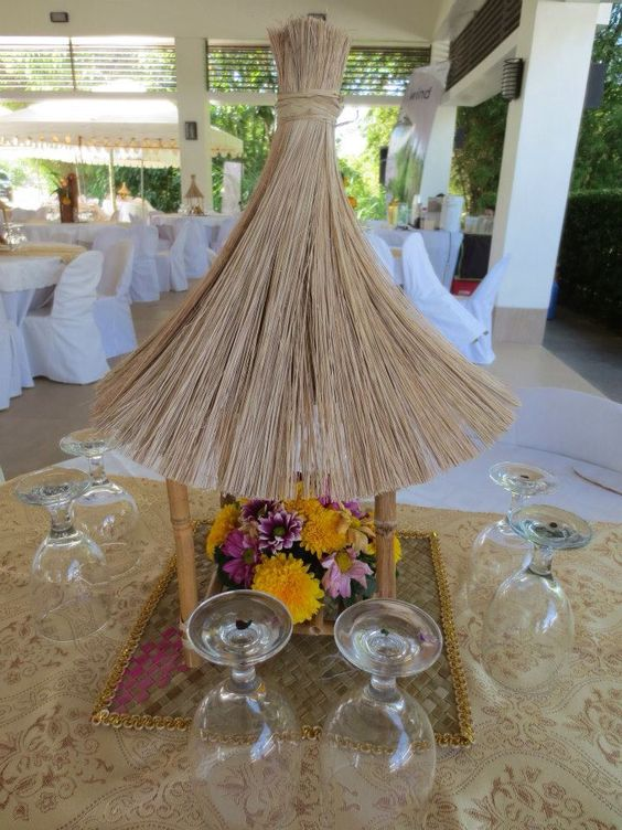 Asian Themed Event. Mini Bali Hut Centerpiece.
