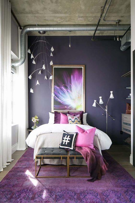 Colores Para Dormitorios Modernos Combinacion De Colores Para Recamaras Colores Para Dormitorios Mat Purple Bedroom Design Purple Bedrooms Grey Bedroom Decor