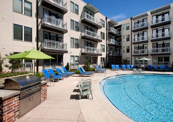 The Resort Style Pool At Post South Lamar Features Grilling Stations And Lots Of Colorful Loung Resort Style Pool Apartment Communities Pet Friendly Apartments