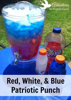 Patriotic Punch - a triple layered, red, white, and blue punch to wow your guests at your 4th of July party.