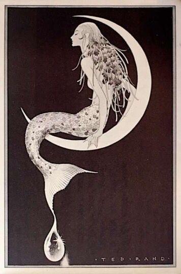 Mermaid sitting on the moon black & white art   ART Black ...