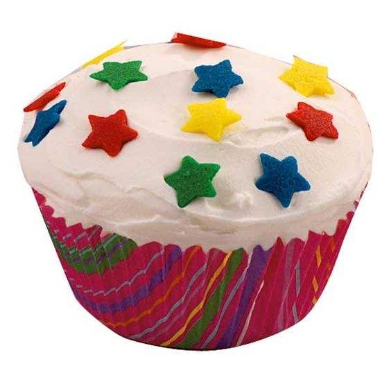 Star Studded Celebration Cupcake - When you need fun treats in no time, use colorful baking cups and ready-made decorations to your advantage.