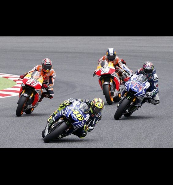 Valentino Rossi, Marc Marquez, Jorge lorenzo and Dani Pedrosa at Catalunya 2014 Incredible the how different they all are on the same corner!