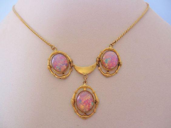 Vintage Foil Art Glass Pendant Gold Filled 1/20 Necklace