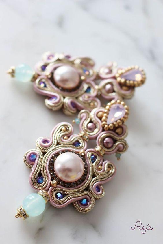Soutache earrings, crystals, Handmade in Italy -Reje creations- https://www.facebook.com/rejegioielliinsoutache