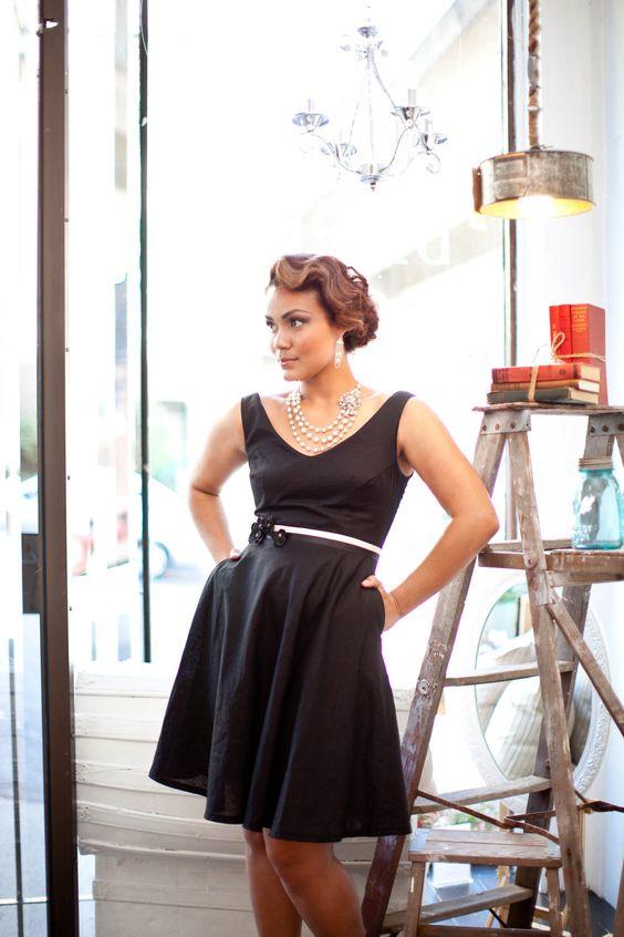 Black Custom Bridesmaid Dress Vintage 1950&39s Era Style Full Skirt ...