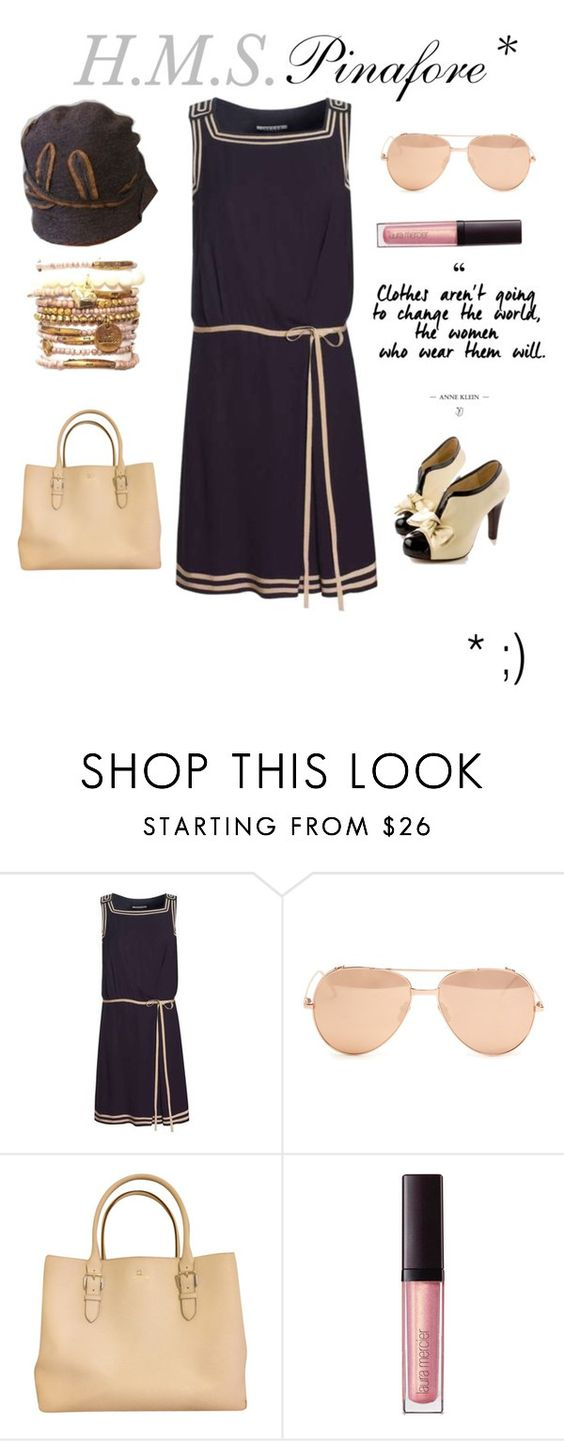 """HMS Pinafore No.3"" by ical-rox ❤ liked on Polyvore featuring Jaeger, Linda Farrow, Kate Spade, Laura Mercier, Elsa Schiaparelli, pinafore and 60secondstyle"
