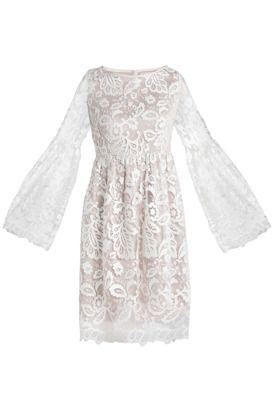Koronkowa sukienka długi rekaw ecru #mostrami