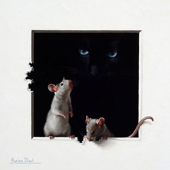 Made by: Marina Dieul , Black Cat and Mice (Beautiful !)