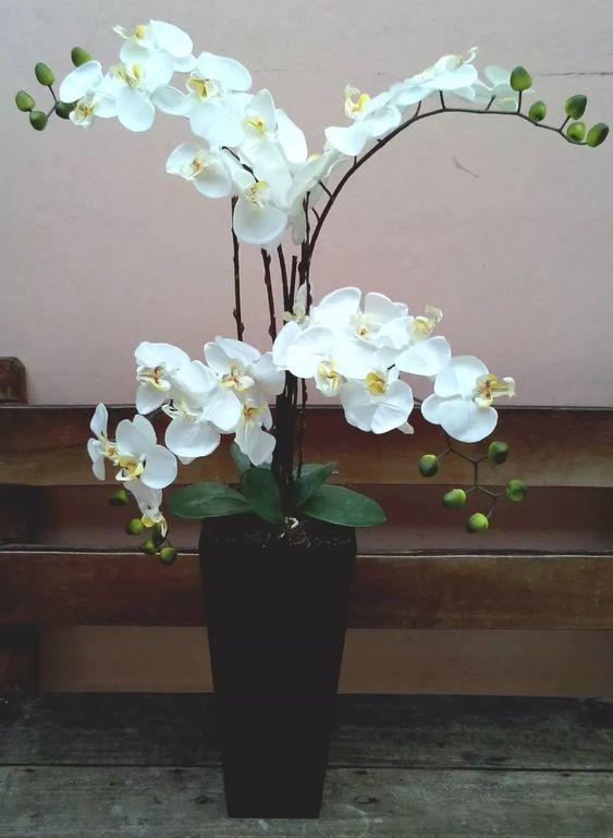 arranjo artificial orquídeas com 4 galhos para chão