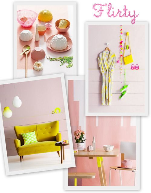 Holly Becker really nailed it for me with this Pastels, Natural Wood, Neon and Hints of Copper mood board. More more more!