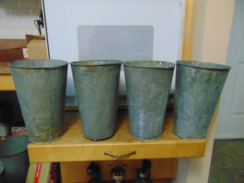 4 NICE OLD LARGE GALVANIZED Maple Syrup Sap Buckets TAPERED GREAT!