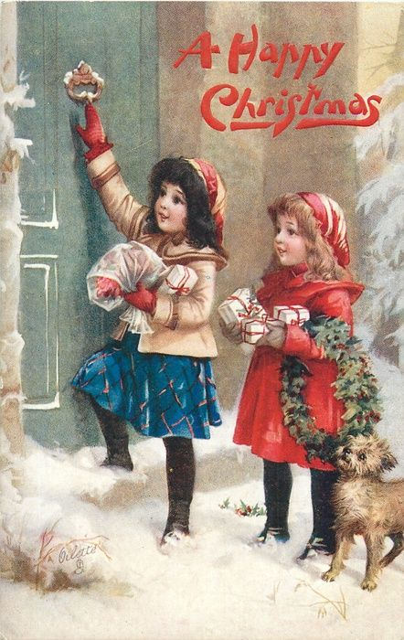 A Happy Christmas postcard ~ 2 girls with presents & dog