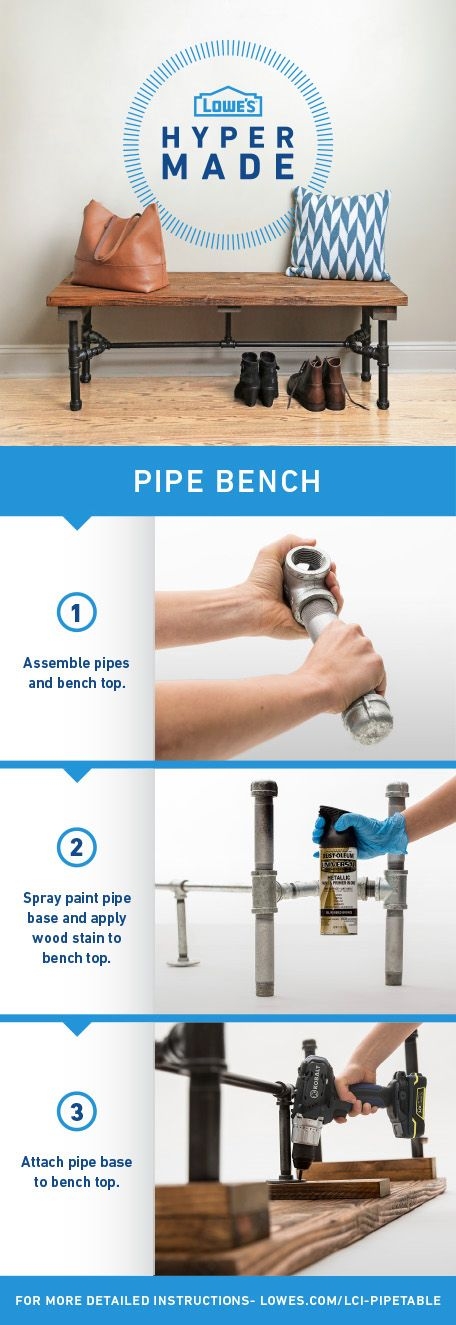 Build this pipe bench in a few easy steps!  For more detaied instructions, go to www.lowes.com/LCI-PipeTable: