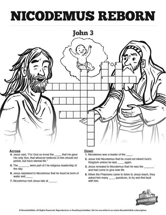 story of nicodemus for preschoolers 3 nicodemus bible sunday school crossword puzzles 899