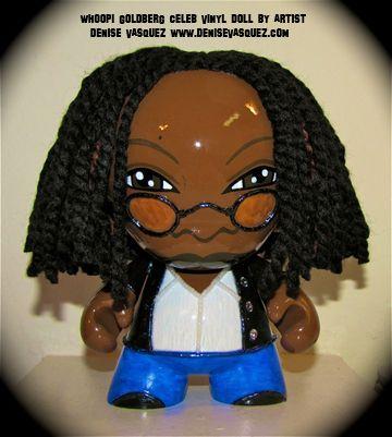 Custom Whoopi Goldberg vinyl munny toy by Artist Denise Vasquez