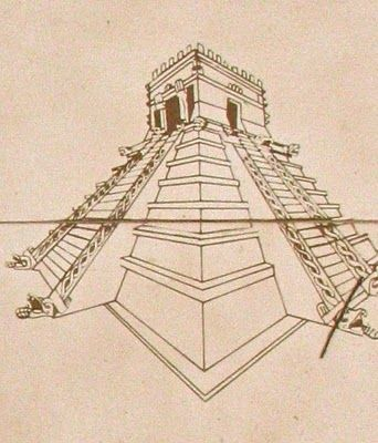 Aztec temple drawing