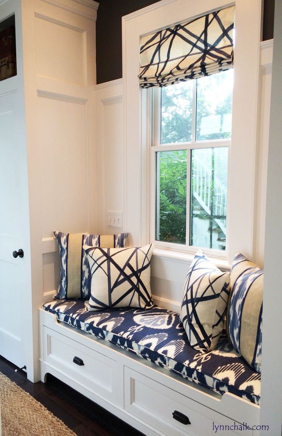 Custom Roman Shade and Pillows by Lynn Chalk in Kelly Wearstler Channels in Periwinkle. Cushion is in Bansuri in Iris and back pillows are in Ranjani from Kravet, $650.00 (http://store.lynnchalk.com/kelly-wearstler-channels-custom-roman-shades-shown-in-periwinkle-oat-comes-in-4-colors/)                                                                                                                                                                                 Plus