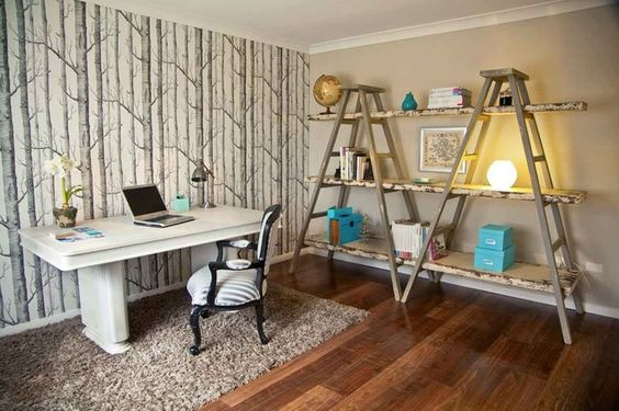 Office & Workspace:Fascinating Home Office Design: Never Bored Work At Home Get Creative With Shelving Arrange Two Ladders And Wooden Flanks And Then You Get Shabby Chic Style Shelving Apply Wallpaper To A Feature Wall To Jazz Up The Room